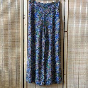 Zara woman wide leg paisley print pants size Small